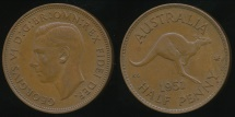 World Coins - Australia, 1951(pl) Halfpenny, 1/2d, George VI - almost Uncirculated