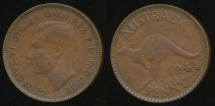 World Coins - Australia, 1944(p) One Penny, 1d, George VI - Fine