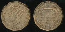 Fiji, Republic British Administration, 1947 Threepence, George VI - almost Uncirculated/Uncirculated