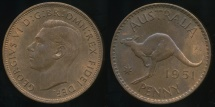 World Coins - Australia, 1951(pl) One Penny, 1d, George VI - Uncirculated