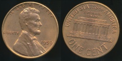 World Coins - United States, 1959-D One Cent, Lincoln Memorial - Uncirculated
