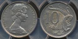 World Coins - Australia, 1968 Ten Cents, 10c, Elizabeth II - PCGS MS65 (Gem Unc)
