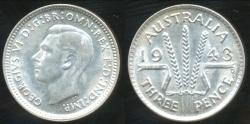 World Coins - Australia, 1943(d) Threepence, George VI (Silver) - Uncirculated