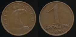 World Coins - Austria, Republic, 1925 1 Groschen - Extra Fine