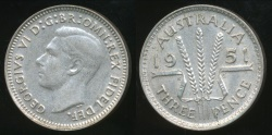 World Coins - Australia, 1951(m) Threepence, 3d, George VI (Silver) - Extra Fine
