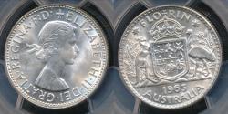 World Coins - Australia, 1963(m) Florin, 2/-, Elizabeth II (Silver) - PCGS MS64 (Ch-Unc)