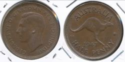 World Coins - Australia, 1947(p) Halfpenny, 1/2d, George VI - Extra Fine
