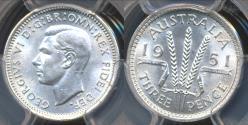 World Coins - Australia, 1951(pl) Threepence, 3d, George VI (Silver) - PCGS MS64 (Ch-Unc)