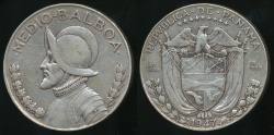 World Coins - Panama, Republic, 1947 1/2 Balboa (Silver) - Very Fine