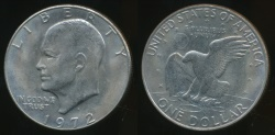 World Coins - United States, 1972-D One Dollar, $1, Eisenhower - almost Uncirculated