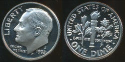 World Coins - United States, 1992-S Dime, Roosevelt - Proof