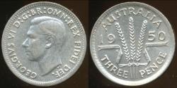 World Coins - Australia, 1950 Threepence, George VI (Silver) - Uncirculated