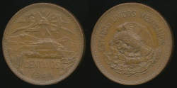 World Coins - Mexico, United States, 1944 20 Centavos - Extra Fine