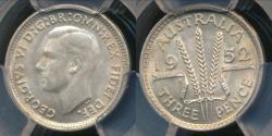 World Coins - Australia, 1952(m) Threepence, 3d, George VI (Silver) - PCGS MS64 (Ch-Unc)