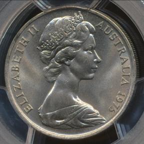 World Coins - Australia, 1976 Twenty Cents, 20c, Elizabeth II - PCGS MS66
