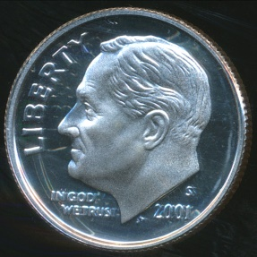 World Coins - United States, 2001-S Dime, Roosevelt (Silver) - Proof