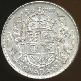 World Coins - Canada, Confederation, 1944 50 Cents, George VI (Silver) - Extra Fine