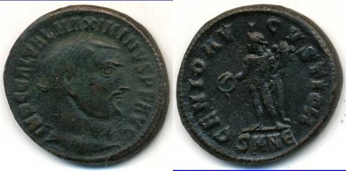 Ancient Coins -   MAXIMINUS II as Augustus, AE-Follis, AD 310-313, Class II, Nicomedia, Officina 5, (22mm, 6.41 gm) - RIC 66