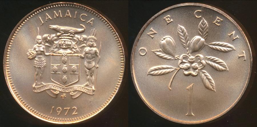 World Coins - Jamaica, Commonwealth, Elizabeth II, 1972FM (M) Cent - Gem Uncircuated