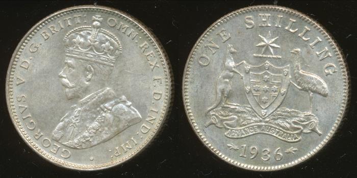 World Coins - AUSTRALIA - 1936 Shilling, George V - Unc