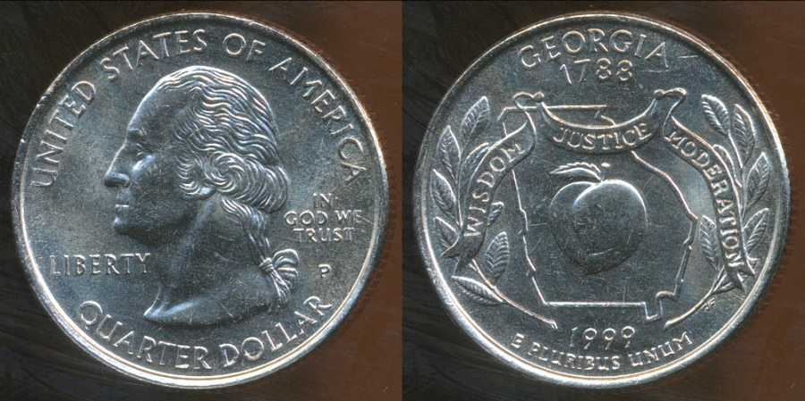 World Coins - United States, 1999-P Quarter Dollar, Washington (State - Georgia) - Uncirculated