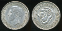 World Coins - Australia, 1946(m) One Shilling, 1/-, George VI (Silver) - Very Fine/Extra Fine
