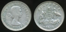 World Coins - Australia, 1960 Sixpence, 6d, Elizabeth II (Silver) - Very Fine