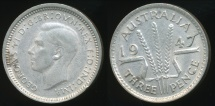 World Coins - Australia, 1947 Threepence, 3d, George VI (Silver) - Extra Fine