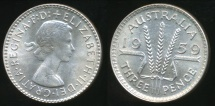 World Coins - Australia, 1959 Threepence, 3d, Elizabeth II (Silver) - Choice Uncirculated