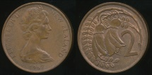 World Coins - New Zealand, 1967 Two Cents, 2c, Elizabeth II - almost Uncirculated