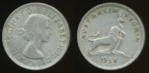 World Coins - Australia, 1954 Florin, 2/-, Elizabeth II (Royal Visit)(Silver) - Very Good