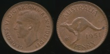 World Coins - Australia, 1951(m) One Penny, 1d, George VI - almost Uncirculated