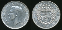 World Coins - New Zealand, 1941 1/2 Crown, George VI (Silver) - aUnc/Unc