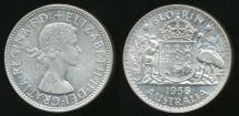 World Coins - Australia, 1956(m) Florin, 2/-, Elizabeth II (Silver) - Uncirculated