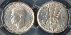 World Coins - Australia, 1948(m) Threepence, 3d, George VI (Silver) - PCGS MS64 (Ch-Unc)