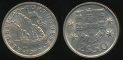 World Coins - Portugal, Republic, 1977 2-1/2 Escudos - Uncirculated