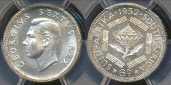 World Coins - South Africa, 1952 6 Pence, George VI (Silver) - PCGS PR67 (Proof)