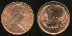 World Coins - Australia, 1980 One Cent, 1c, Elizabeth II - Uncirculated