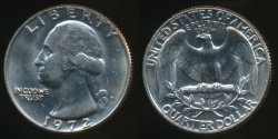 World Coins - United States, 1972-D Quarter, 1/4 Dollar, Washington - Uncirculated