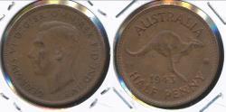 World Coins - Australia, 1943(m) Halfpenny, 1/2d, George VI - Extra Fine