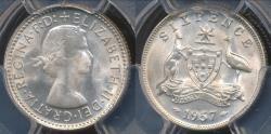 World Coins - Australia, 1957(m) Sixpence, 6d, Elizabeth II (Silver) - PCGS MS65 (Gem-Unc)