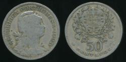 World Coins - Portugal, Republic, 1928 50 Centavos - Very Good