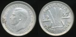 World Coins - Australia, 1947 Threepence, 3d, George VI (Silver) - Extra Fine