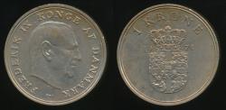 World Coins - Denmark, Kingdom, Frederik IX, 1971 1 Krone - Extra Fine