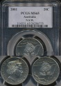 World Coins - Australia, 2001 Twenty Cents, 20c, Elizabeth II (New South Wales) - PCGS MS65