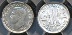 World Coins - Australia, 1943(s) Threepence, 3d, George VI (Silver) - PCGS MS63 (Ch-Unc)
