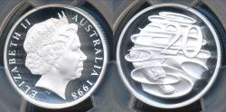World Coins - Australia, 1998 Twenty Cents 20c Elizabeth II (Silver) - PCGS PR69DCAM (Proof)