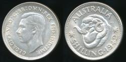 World Coins - Australia, 1942(m) One Shilling, 1/-, George VI (Silver) - Choice Uncirculated