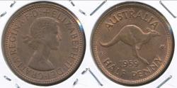 World Coins - Australia, 1959(m) Halfpenny, 1/2d, Elizabeth II - Uncirculated