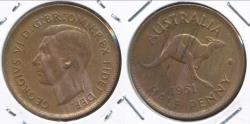 World Coins - Australia, 1951(p) Halfpenny, 1/2d, George VI (Without dot) - Uncirculated